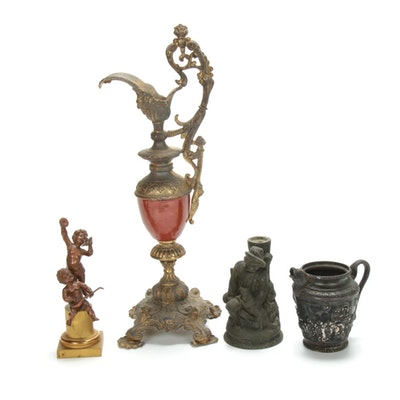 Egyptian Revival Creamer and Other Antique Decorative Objects