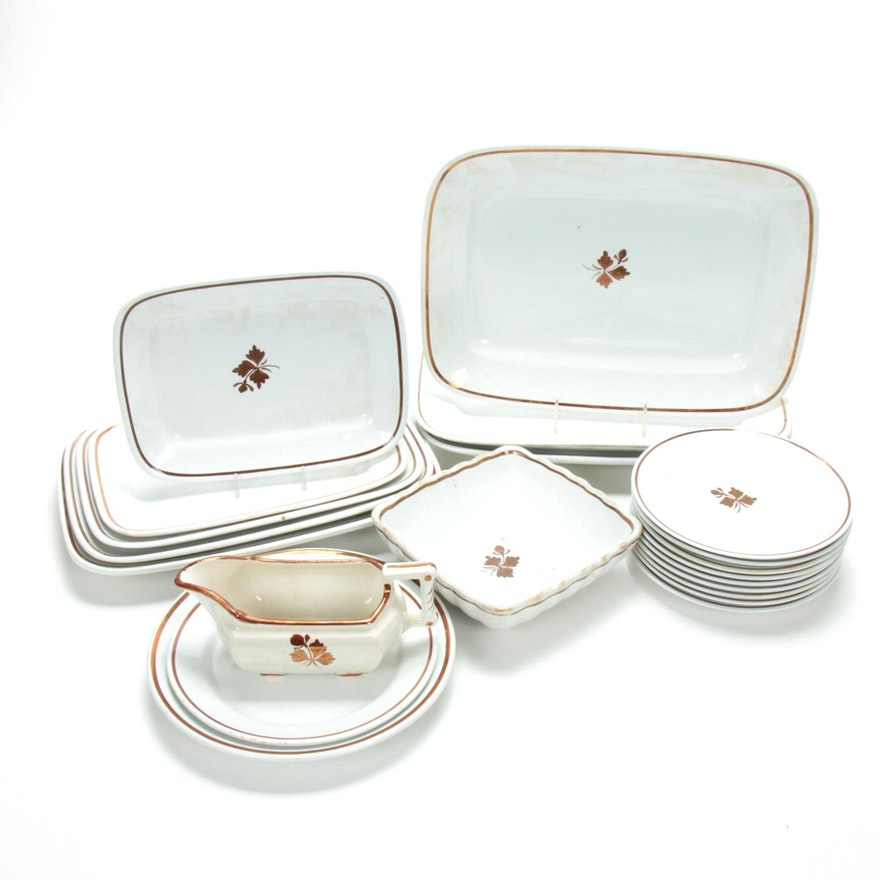 "Ironstone ""Tea Leaf"" Copper Luster Dinner and Serveware, 19th Century"