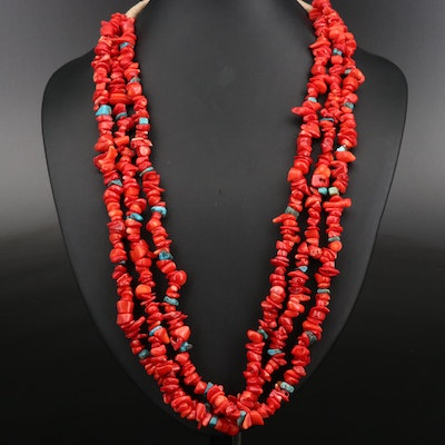 Coral and Turquoise Triple Strand Necklace