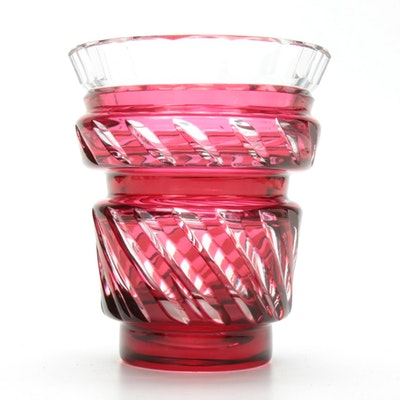 Val St. Lambert Cranberry Cut to Clear Crystal Vase