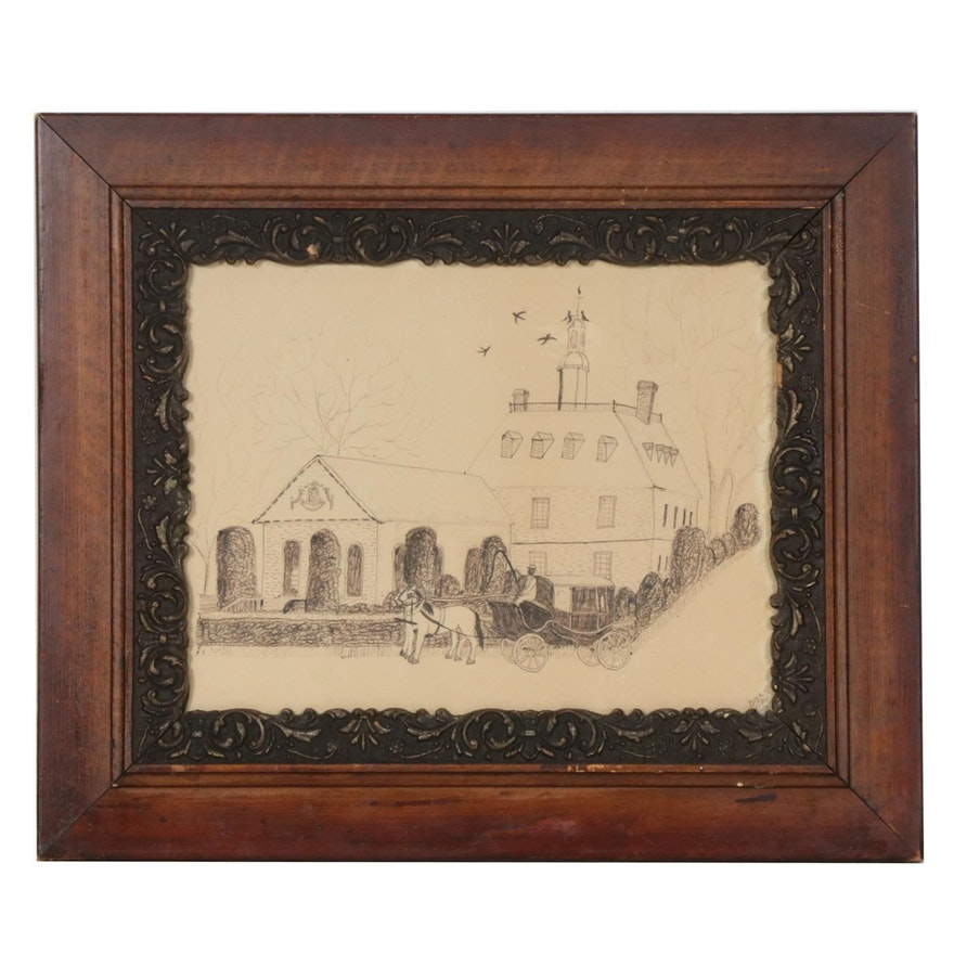 Beth Seiler Folk Art Ink Drawing of a Church with Horse and Buggy, 20th Century