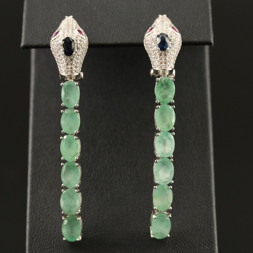 Sterling Emerald, Sapphire, Ruby and Cubic Zirconia Snake Earrings