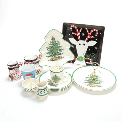 "Spode ""Christmas Tree"" Plates and Other Christmas Tableware"