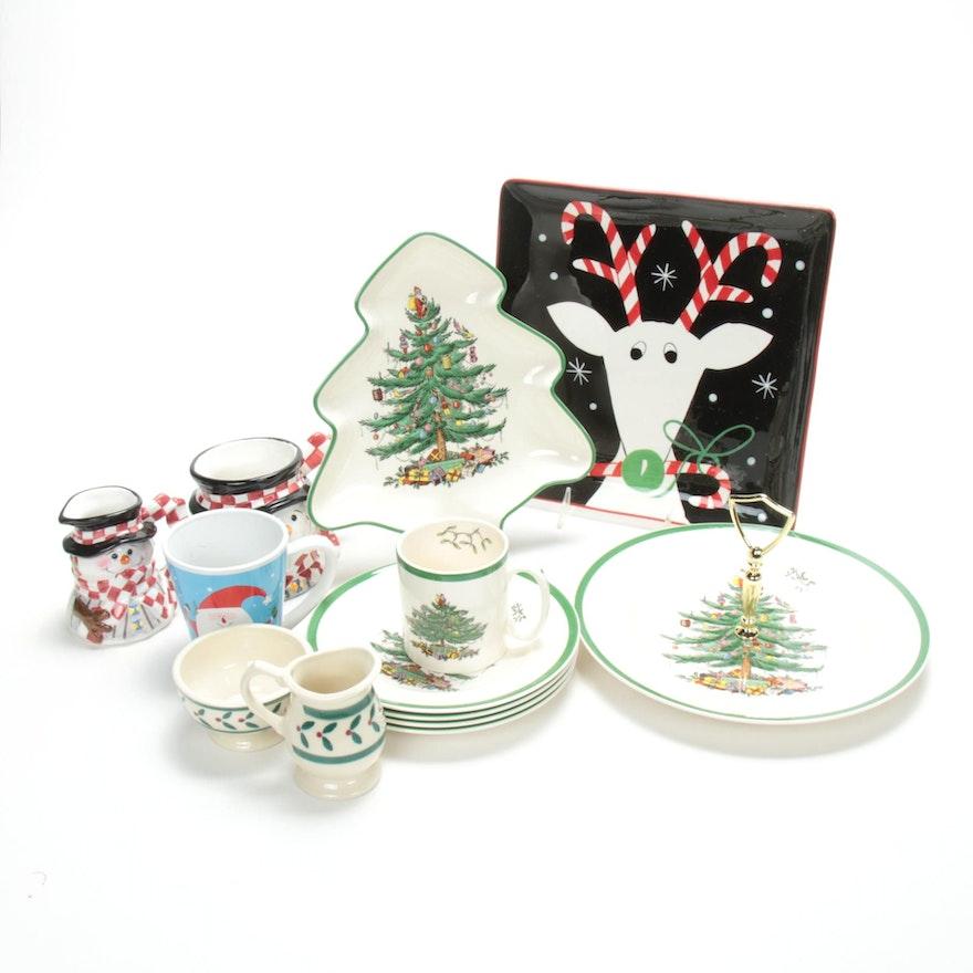 "Spode ""Christmas Tree"" Plates and Other Christmas Tableware"