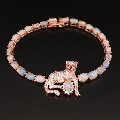 Sterling Opal and Cubic Zirconia Panther Bracelet