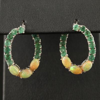 Sterling Silver Opal and Emerald Hoop Earrings