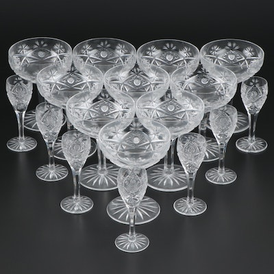 American Brilliant Style Crystal Cordials and Champagne Coupes