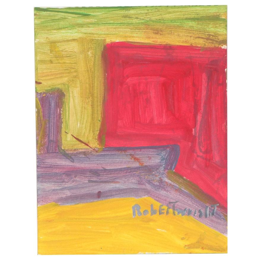 Robert Wright Geometric Abstract Acrylic Painting, 21st Century