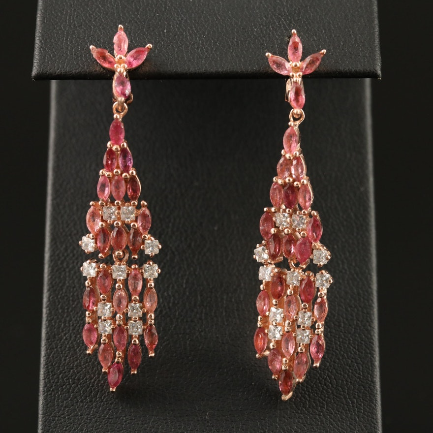 Sterling Silver Tourmaline and Cubic Zirconia Cluster Earrings