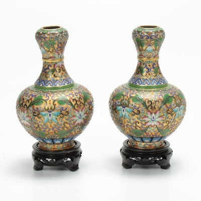 Pair of Chinese Champleve Vases on Wooden Stands, 20th Century