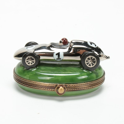 La Gloriette Hand-Painted French Porcelain Race Car Limoges Box
