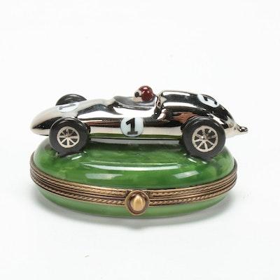 La Gloriette Hand-Painted French Porcelain Race Car Limoges Box