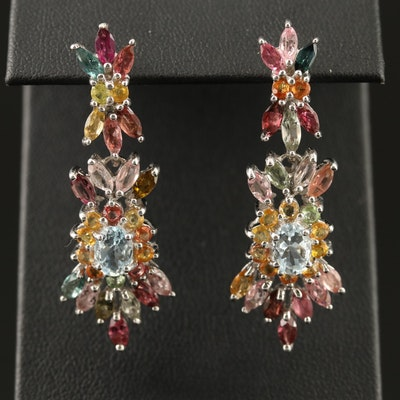 Sterling Silver Aquamarine, Tourmaline and Sapphire Cluster Earrings