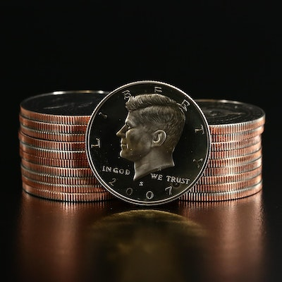 Roll of Twenty 2007-S Proof Clad Kennedy Half Dollars