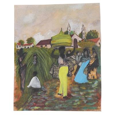 Folk Art Style Gouache Painting, Late 20th Century