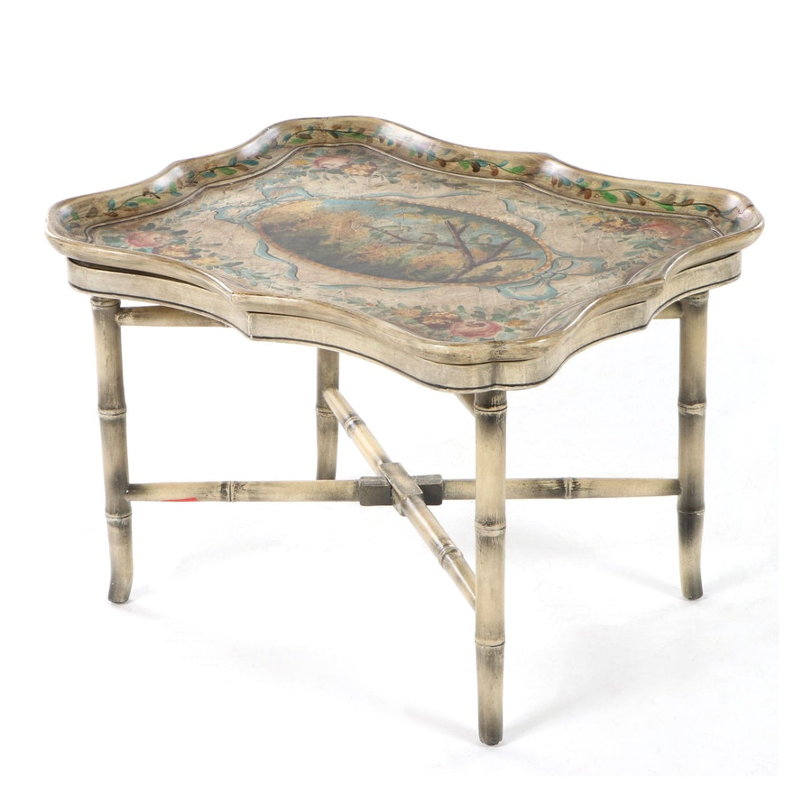 Paint-Decorated Faux Bamboo Tray Side Table