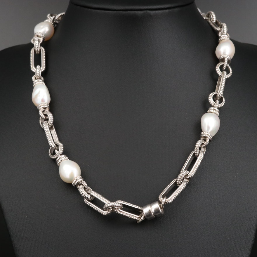 Judith Ripka Sterling Pearl and Diamond Station Necklace with 18K Accents