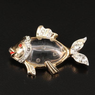 Vintage Lucite and Rhinestone Jelly Belly Fish Brooch