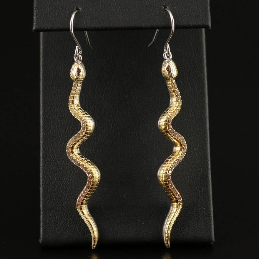 Sterling Silver Sapphire Snake Earrings