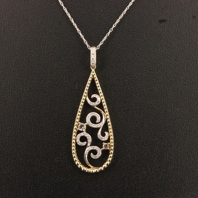 14K Morganite and Diamond Swirl Design Pendant on 10K Chain