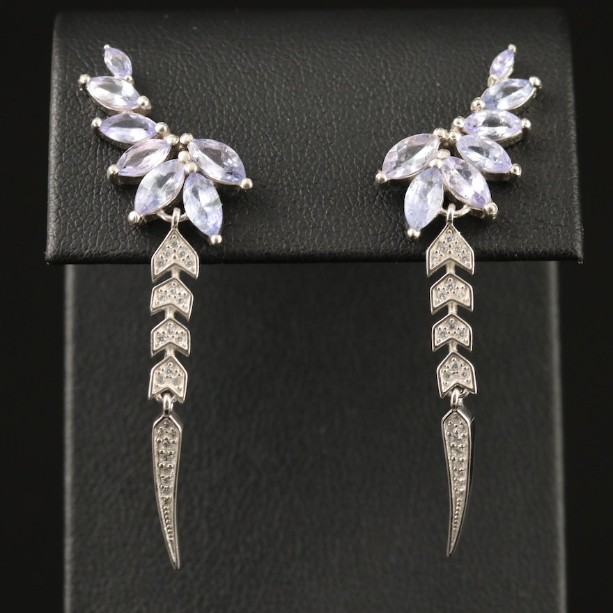 Sterling Silver Tanzanite and Cubic Zirconia Earrings with Feather Design