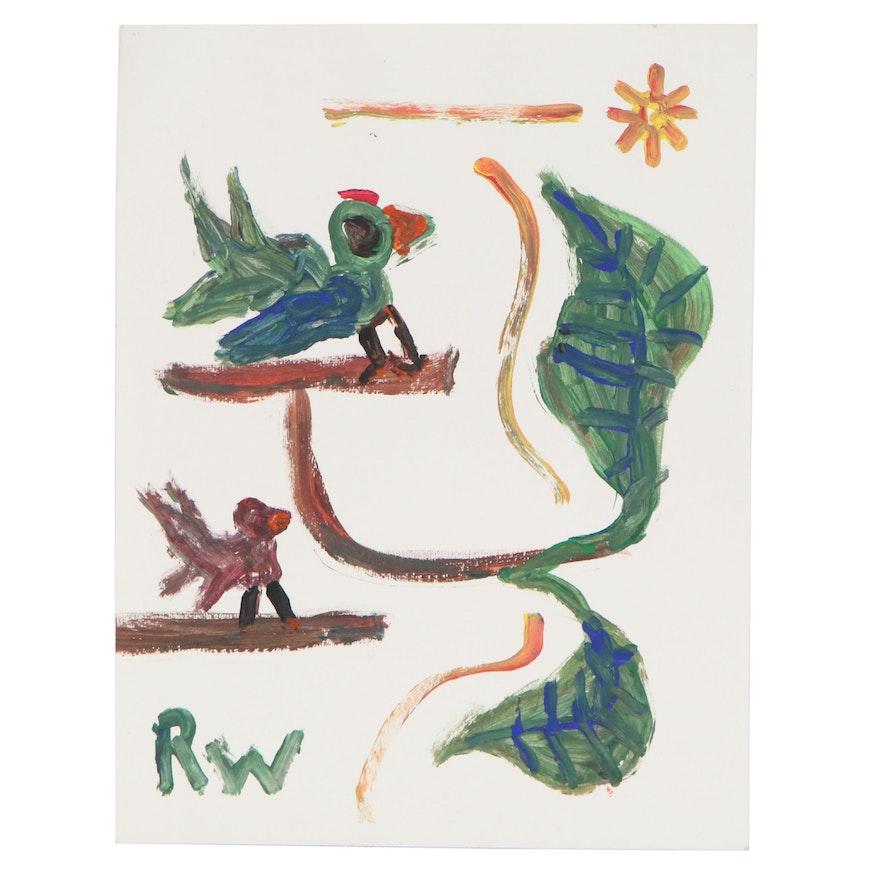 Robert Wright Folk Art Acrylic Painting of Birds, 21st Century