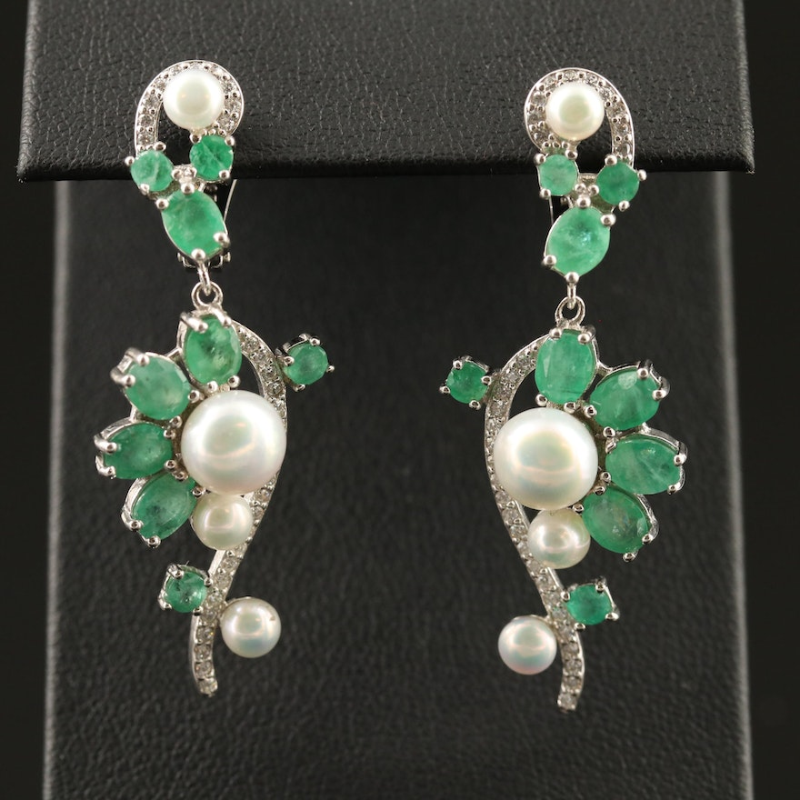 Sterling Silver Emerald, Pearl and Cubic Zirconia Drop Earrings