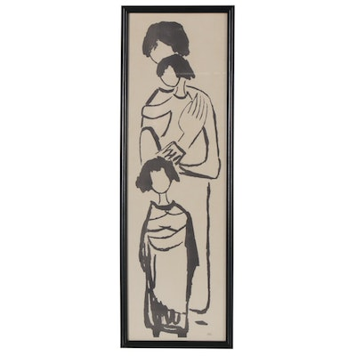 Sadie Rosenblum Lithograph of Mother and Children, Mid to Late 20th Century