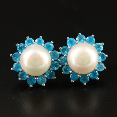 Sterling Silver Pearl and Apatite Earrings