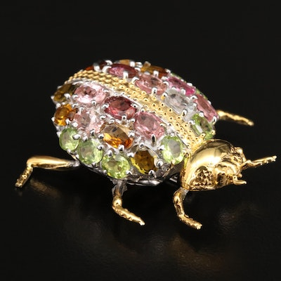 Sterling Silver Peridot, Citrine and Goshenite Insect Brooch