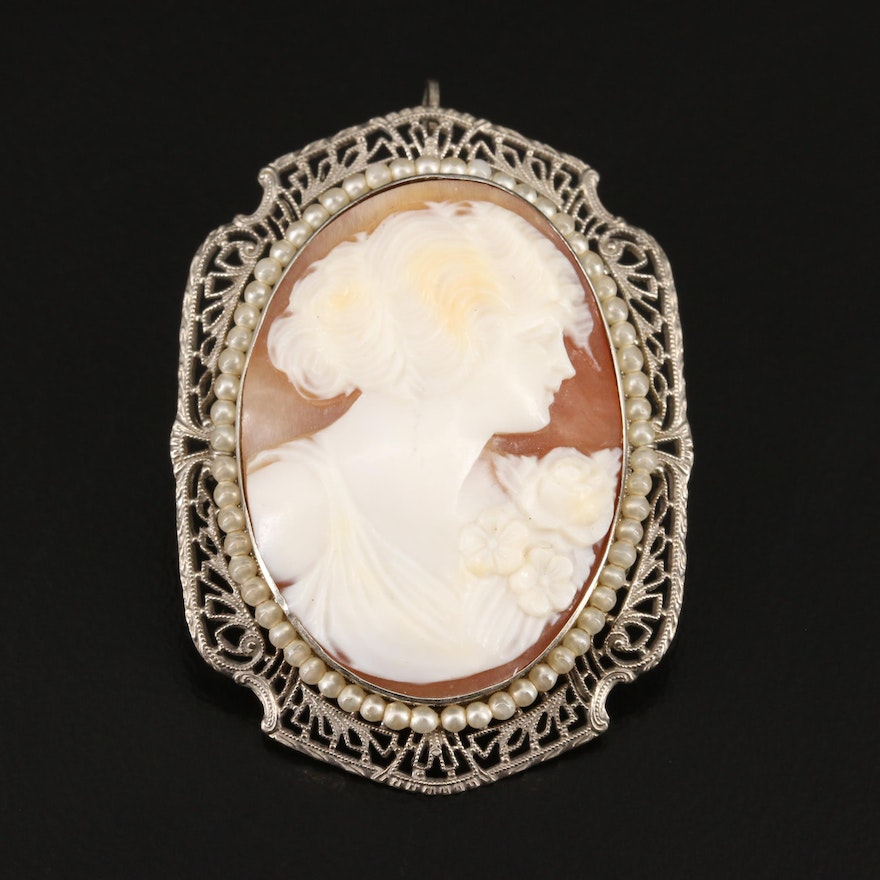1930s 10K Carved Shell Cameo and Faux Pearl Converter Brooch with Filigree Frame