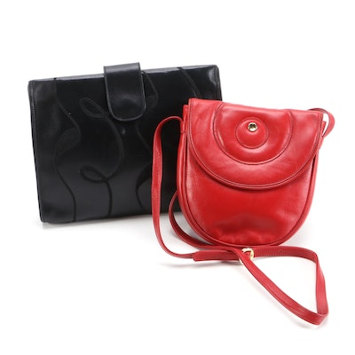 Movado Black and Red Leather Clutch and Crossbody Bag, Vintage
