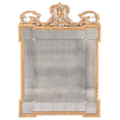 Ethan Allen Rococo Style Gilt Mirror with Silvered Tiles