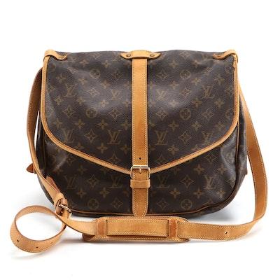 Louis Vuitton Saumur 35 Messenger Bag in Monogram Canvas and Vachetta Leather