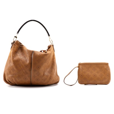 Louis Vuitton Selene PM Hobo Bag in Caramel Monogram Mahina Leather