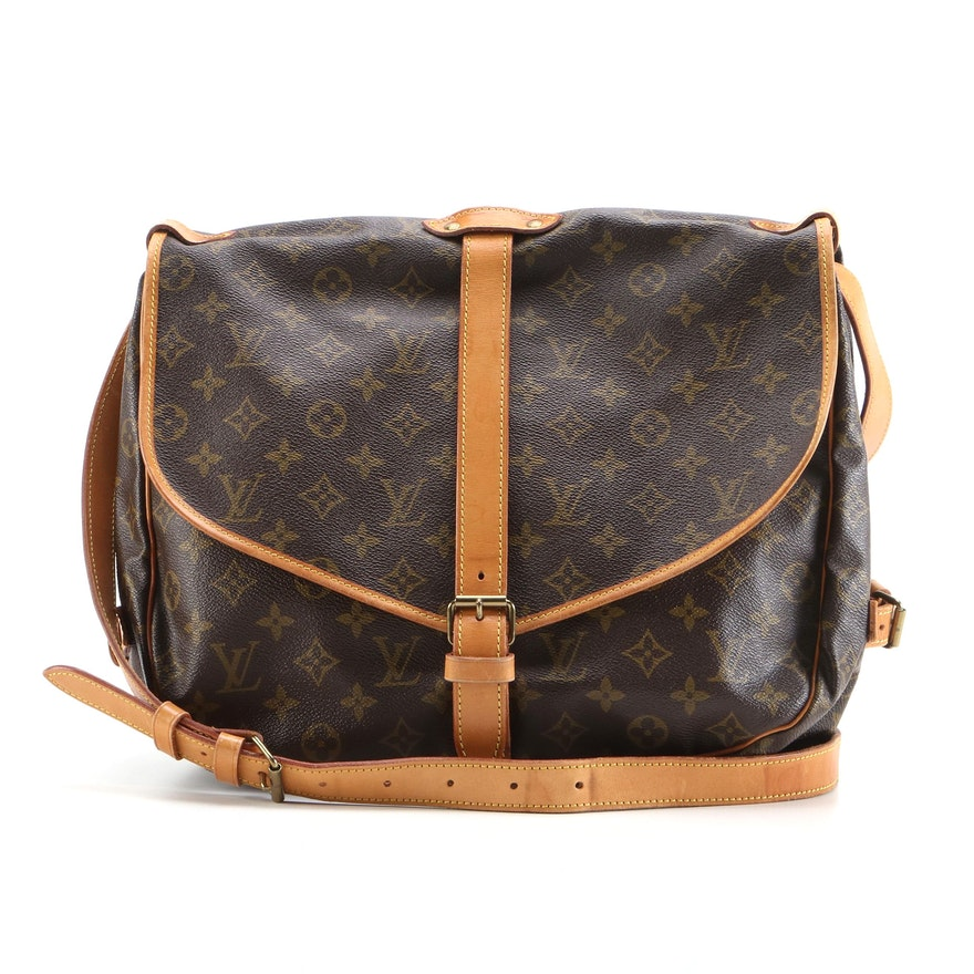 Louis Vuitton Saumur 35 Messenger Bag in Monogram Canvas and Vachetta Leather