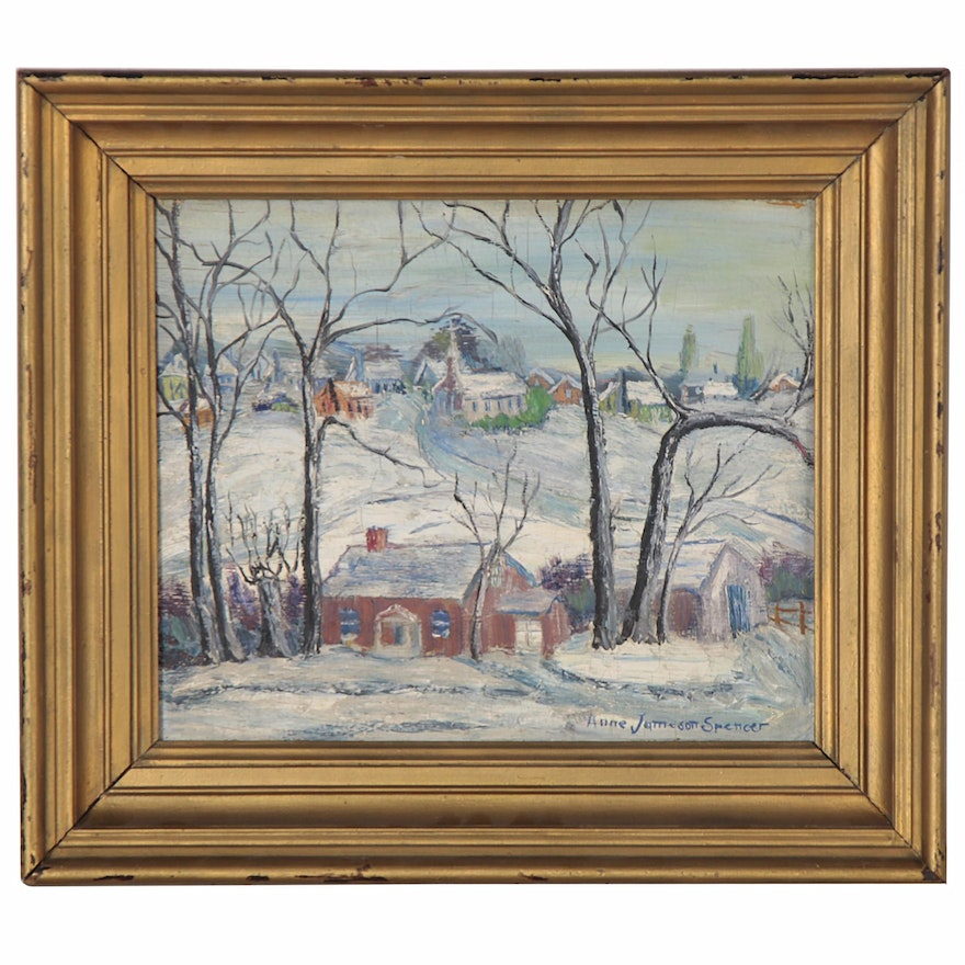 Anne Jameson Spencer Village Landscape Oil Painting, Early to Mid-20th Century
