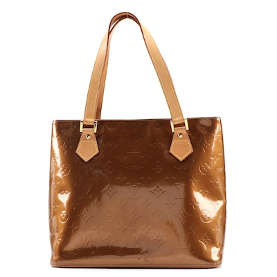 Louis Vuitton Houston Bag in Bronze Monogram Vernis and Vachetta Leather