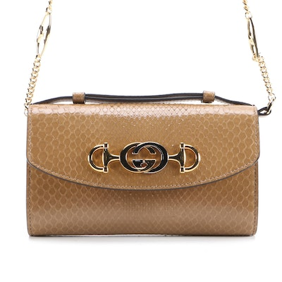 Gucci Mini Zumi Shoulder Bag in Light Brown Python Skin