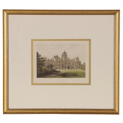"A.F. Lydon Color Wood Engraving ""Westonbirt House"", circa 1880"