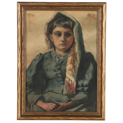 Watercolor Portrait of a Woman, Late 19th Century