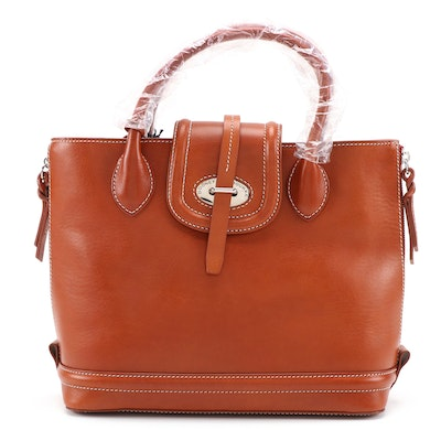 Dooney & Bourke Ginger Brown Leather Side Zip Satchel