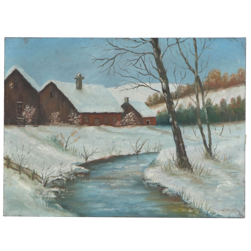 Winter Landscape Oil Painting, Early 20th Century