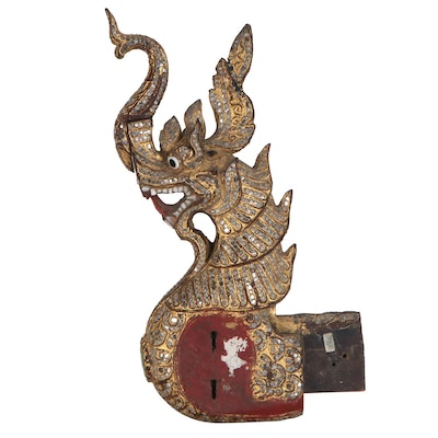 Thai Nāga Giltwood Architectural Fragment, 20th Century
