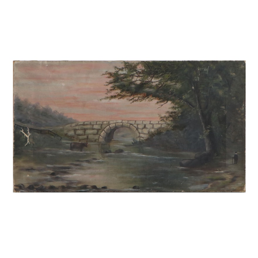Landscape Oil Painting with a Stone Bridge, Late 19th Century