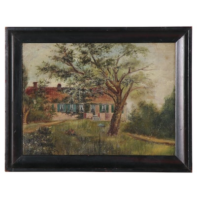 Oil Painting of a Rural House, Early 20th Century