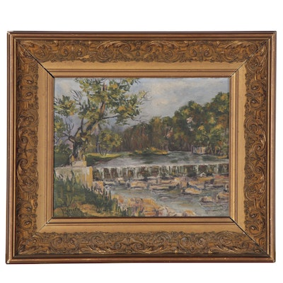 "Oil Painting ""The Denison Dam on Olentangy River,"" Early 20th Century"