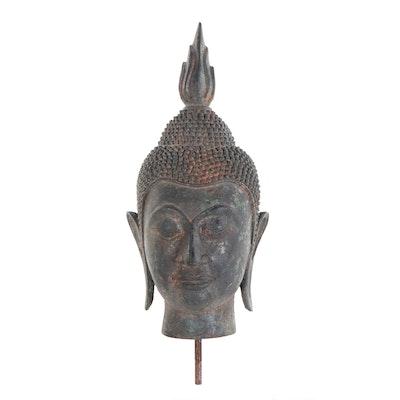 Thai Style Bronze Buddha Bust, 20th Century