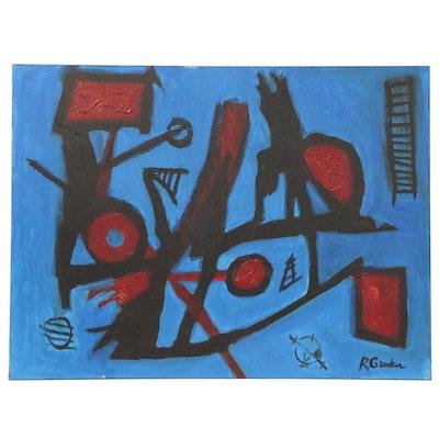 "Randy Groden Acrylic Painting ""Bracciano,"" 21st Century"