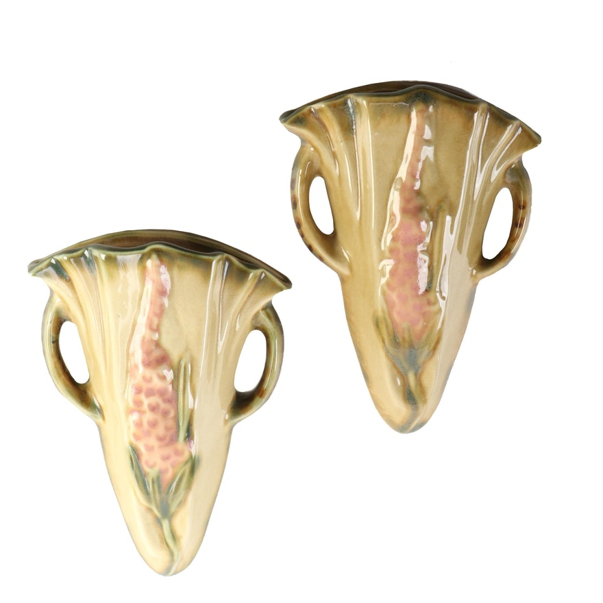 """Pair of Roseville Pottery """"Wincraft"""" Wall Pockets"""